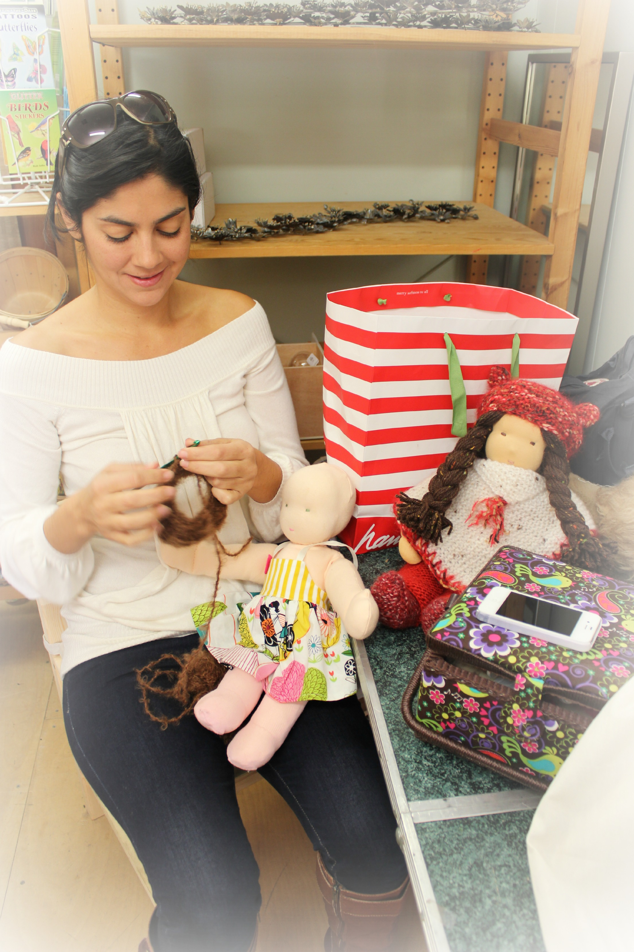 121219 Yvonne crafting 16 inch Waldorf cuddle dolls for her children