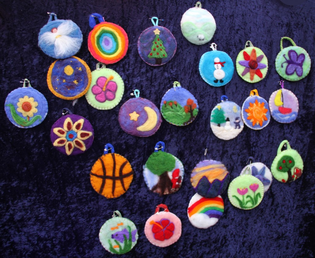 Felted picture christmas ornaments