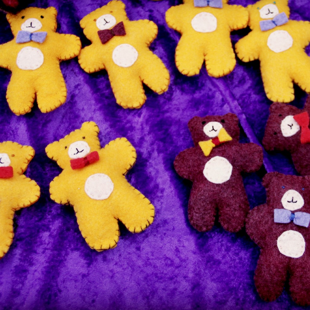 Handmade Felt  plush handstitched teddy bear Christmas Ornaments