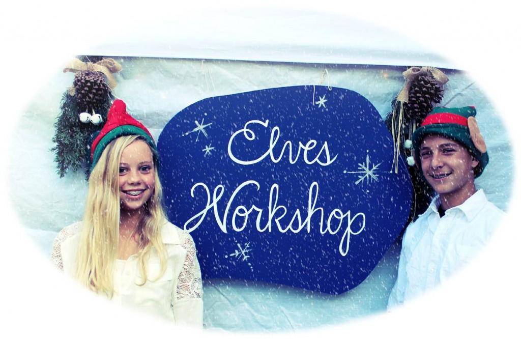 Two elves by the Elves Workshop Exit.