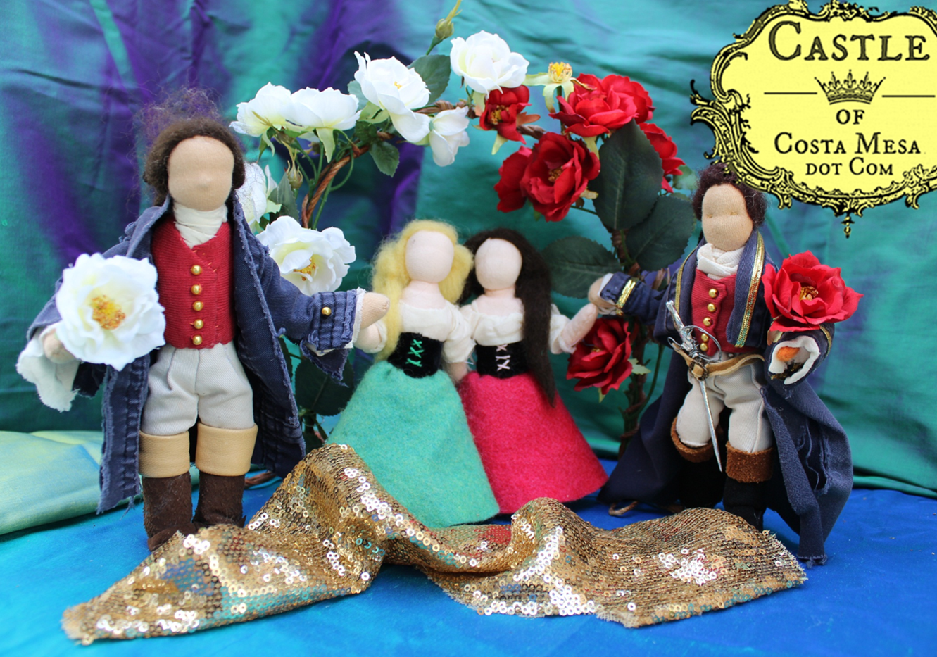 Snow White and Rose Red wedding scene. Handmade and homespun puppet theatre by CastleofCostaMesa.com
