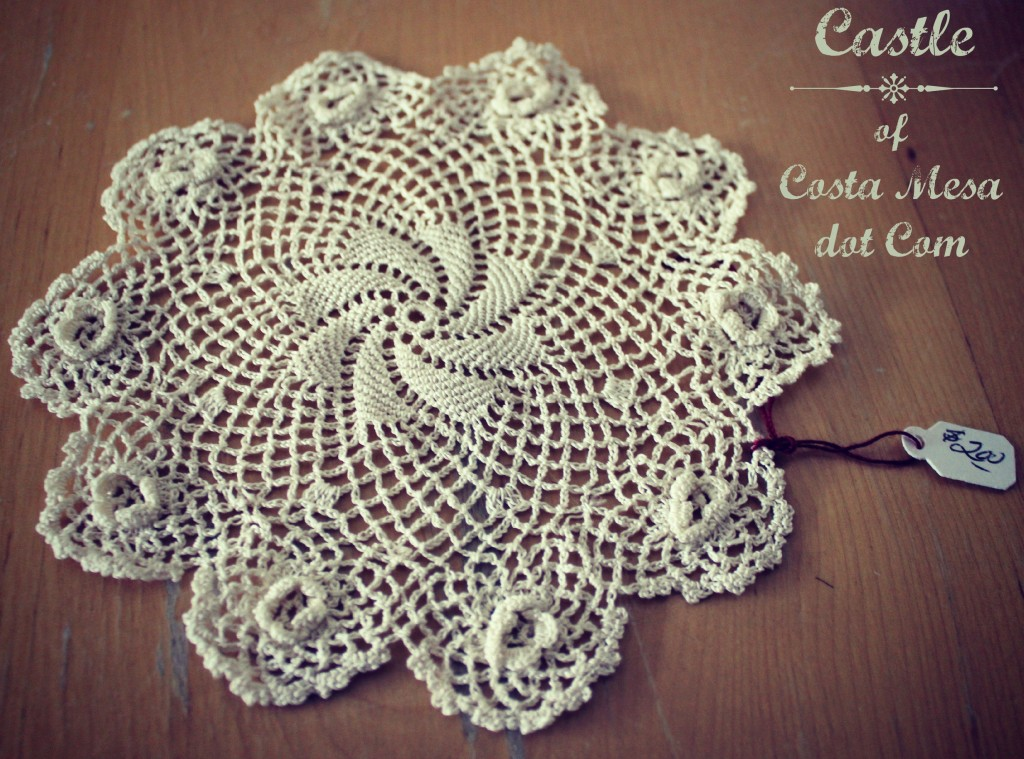 Vintage doily from Piecemakers Country Store, Costa Mesa, California, USA