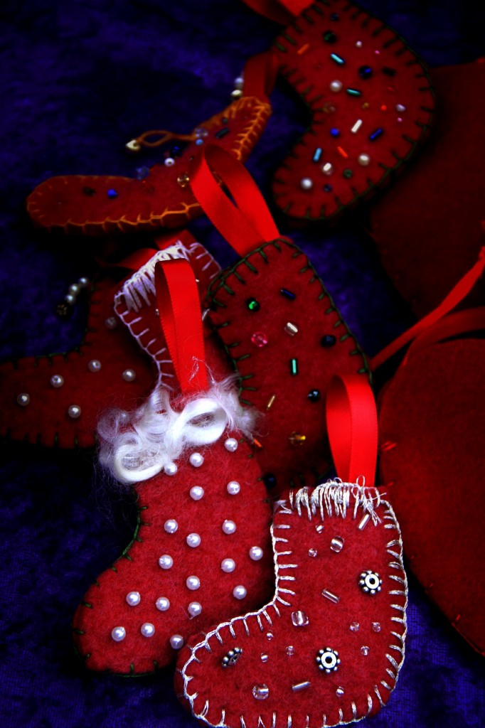beaded felt stocking christmas tree ornaments for Waldorf School Winter Festival