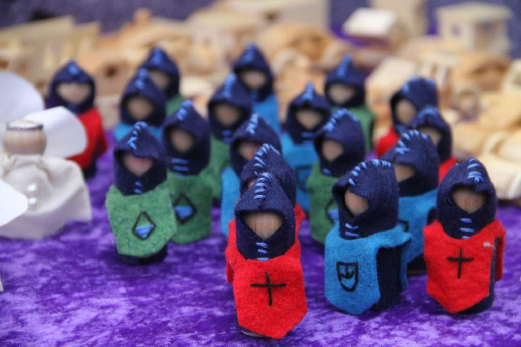 wooden peg and felt knight figurine toys