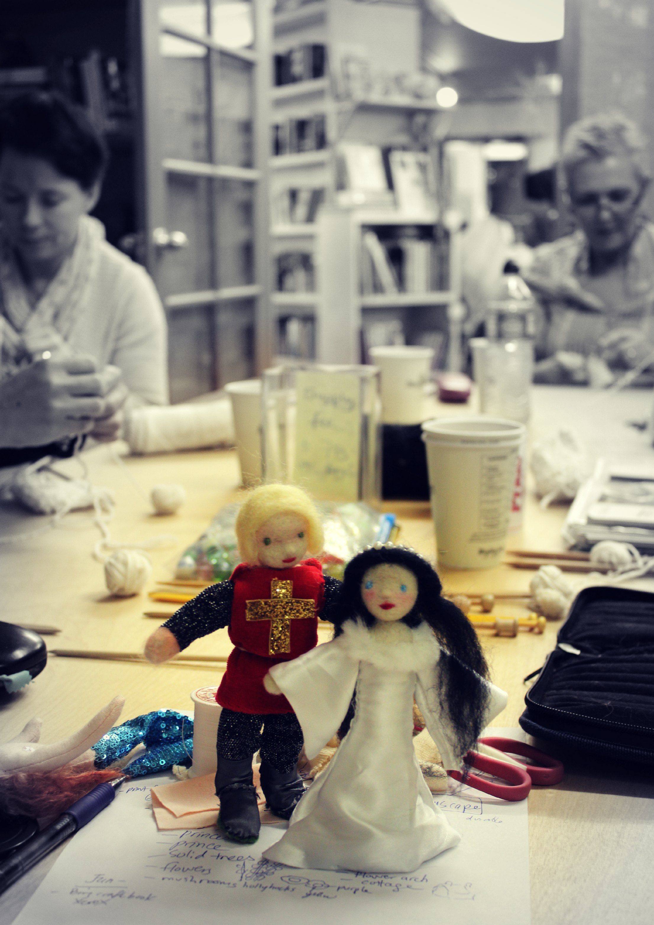 130116 Jzin's handmade dolls. The Knight and The Lady at Craft Group table.