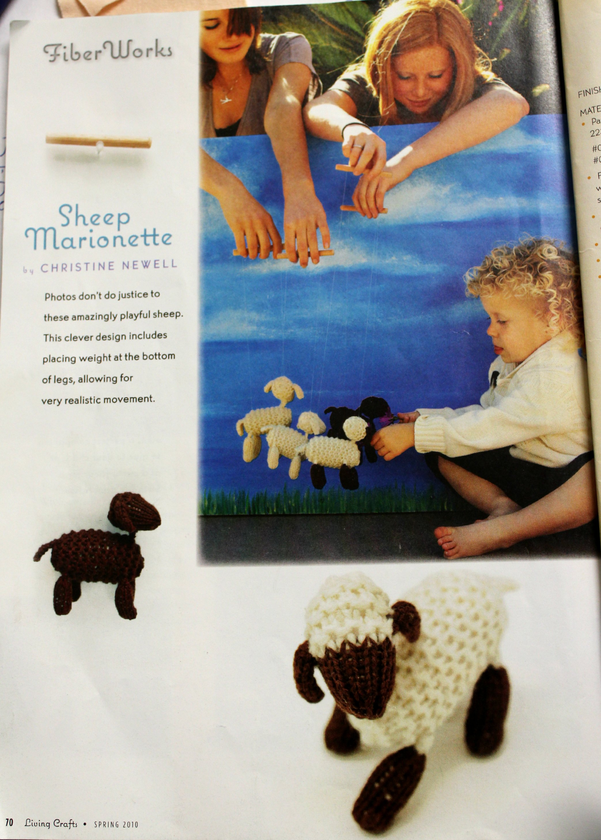 130116 Spring 2010 Living Crafts Magazine. Christine Newell's Sheep Marionette Tutorial. Fiber Works first page