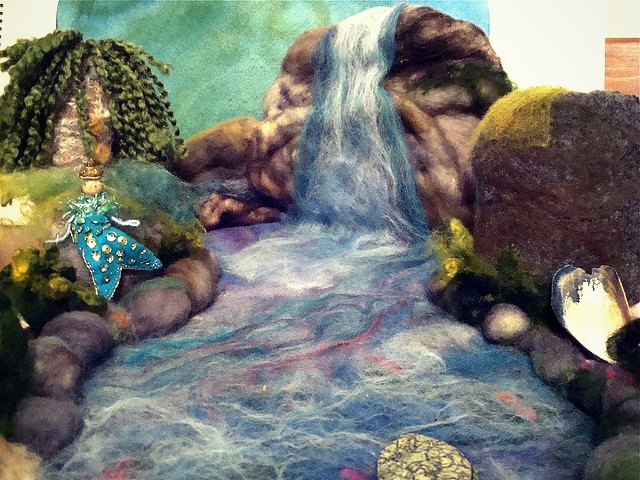 130117 Needle Felted Mermaid and Waterfall and Lagoon by PhaedraPhoenix, via Flickr