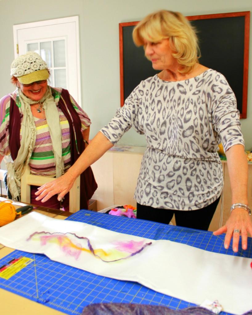 130123 Christine teaching Artfelt technic at craft group morning 2