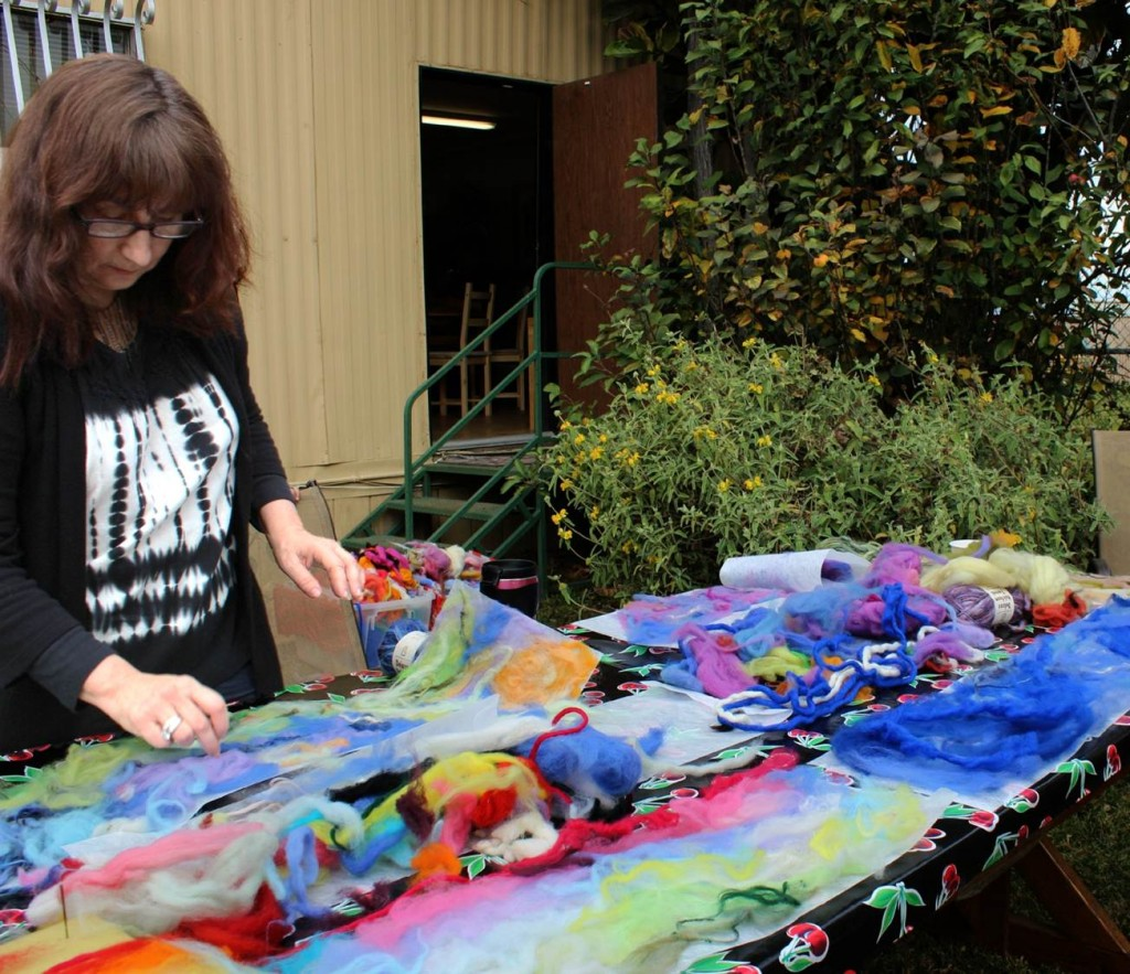 130123 Julie, colorful wool roving, yarn and Artfelt scarves in the making 2