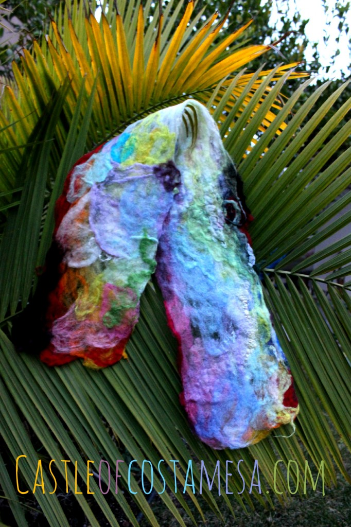 130123 Jzin's first Artfelt scarf craft project drying on palm tree