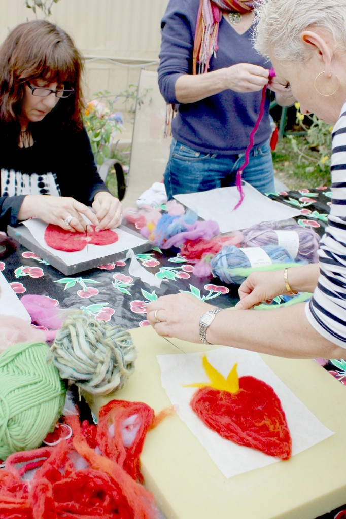 130123 Rachel and Julie making valentine hearts with roving on Artfelt paper