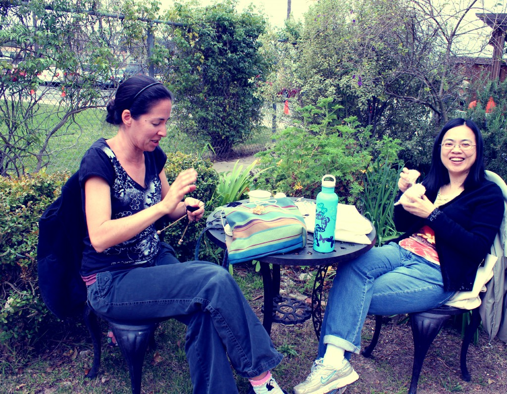 130123 Rebecca and Josephine Knitting in the garden 2