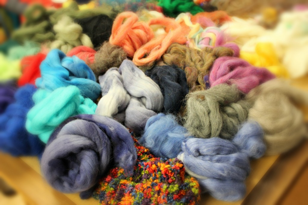 130130 Generous donation of colorful wool roving by Julie Fish for our craft group project Gala donation