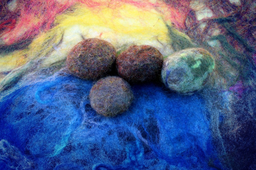 130130 Wet felted pebbles into lakeside rocks