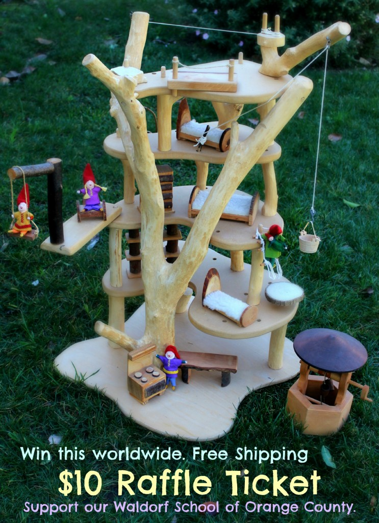 130226 Worldwide Raffle $10 Free Shipping. Support our Waldorf School of Orange County. Magic Wooden Tree House with miniature doll family with words.