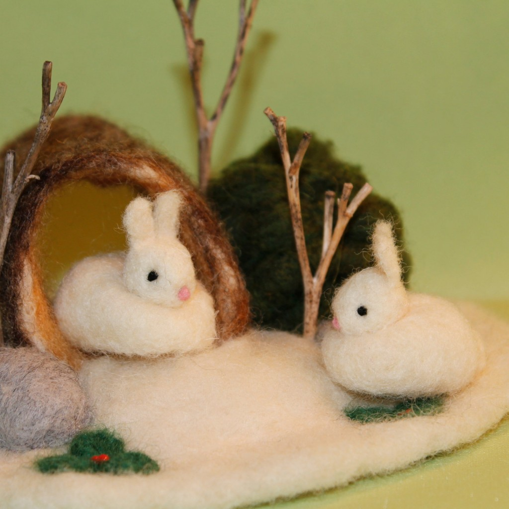 Enchanteddolls on Etsy.com Winter Snow Bunnies in a Log-needle felted scene