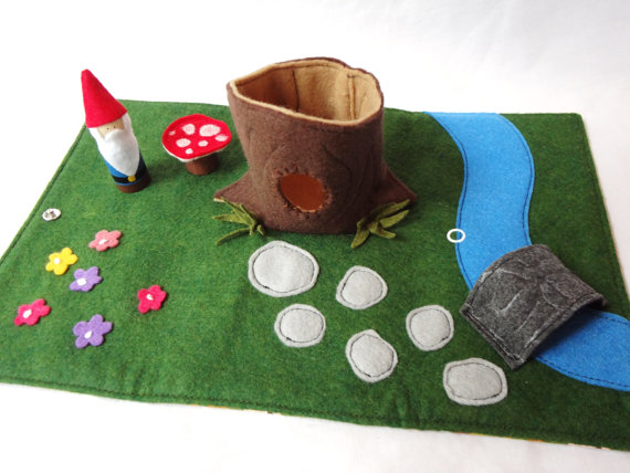 MyLOInspirations Gnome Home Travel Play Mat for On-the-Go