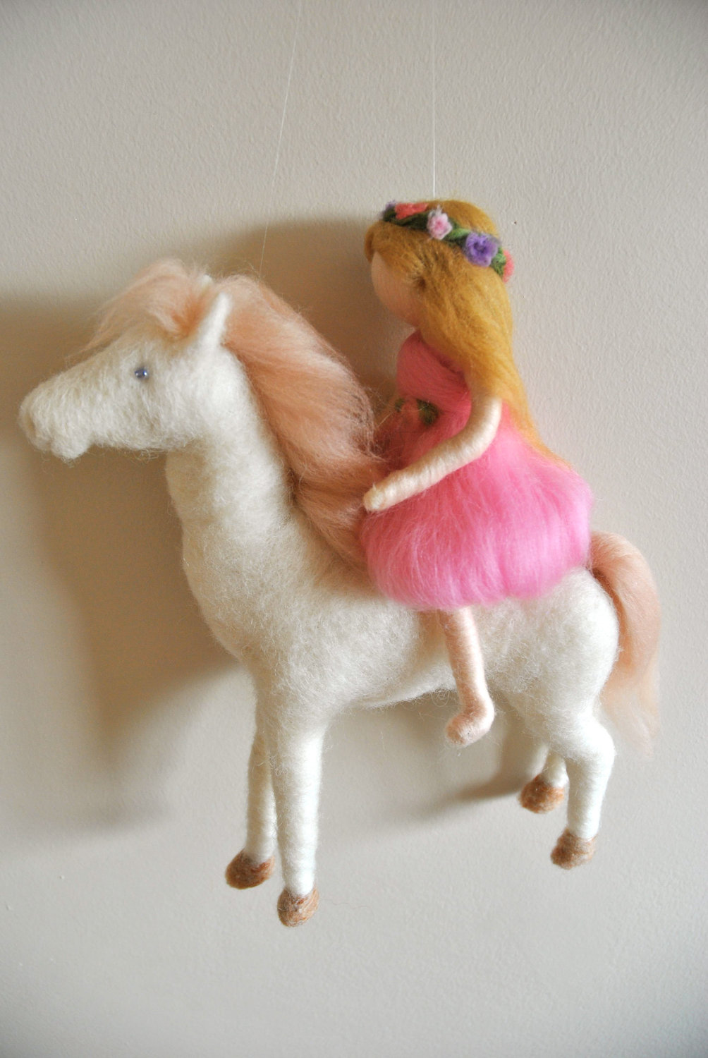 MagicWool Waldorf inspired needle felted doll mobile. The Girl in Pink and the White Horse on Etsy