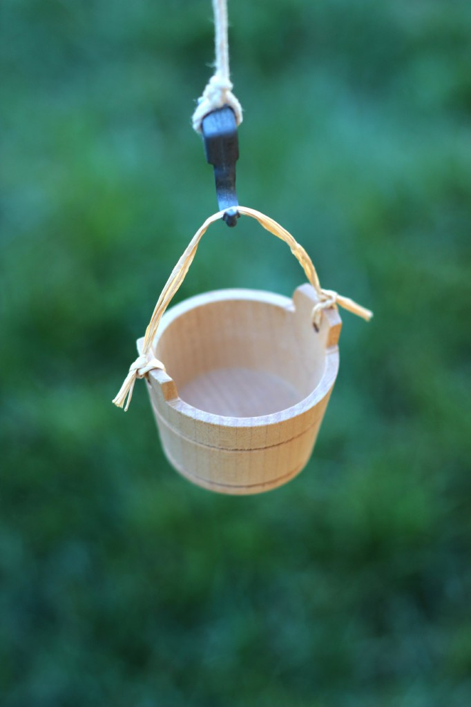 Miniature wooden bucket for Magic Fairy Tree House Set