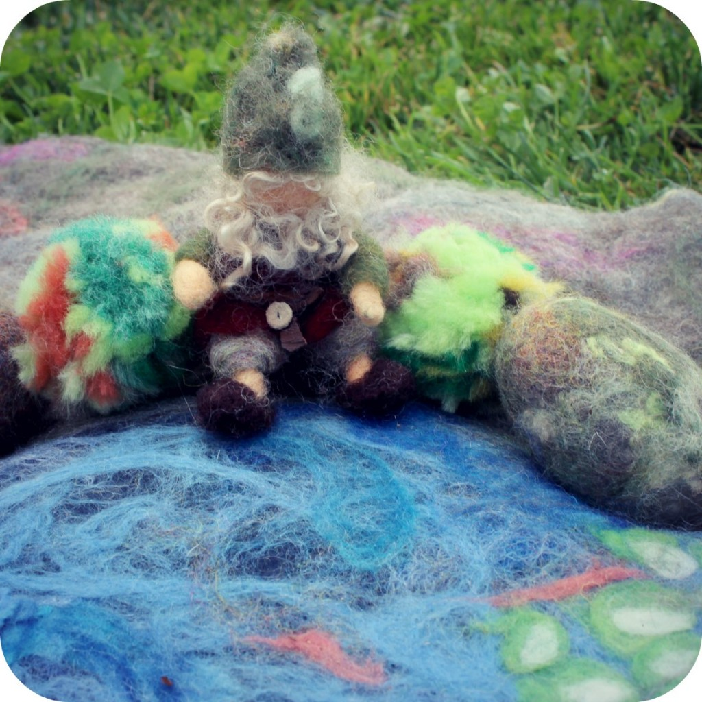 130205 Gisela's felted gnome by a fish pond wet-felted playscape