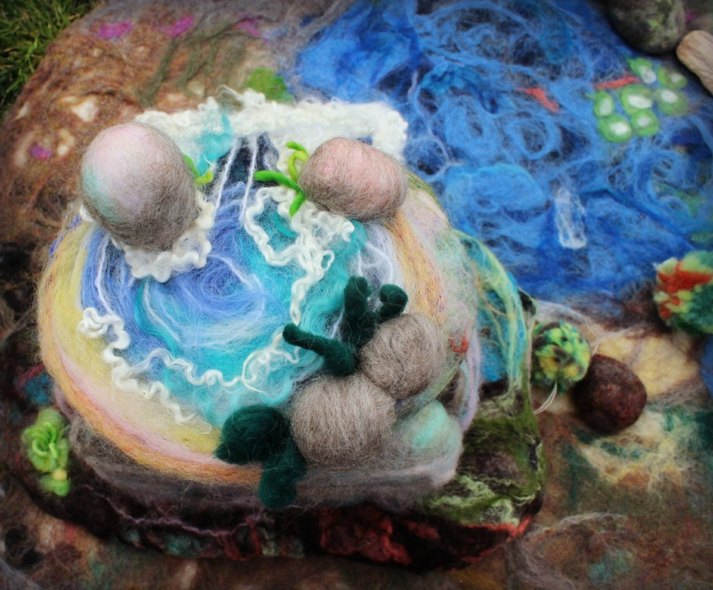 130205 Needle-felted Well spring atop waterfall mountain
