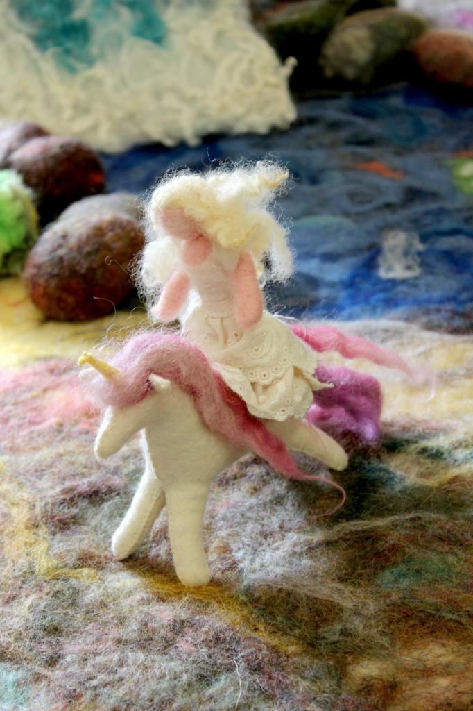 130205 Jzin's handmade miniature needle-felted Princess riding a pink maned felt unicorn handmade by Renuka