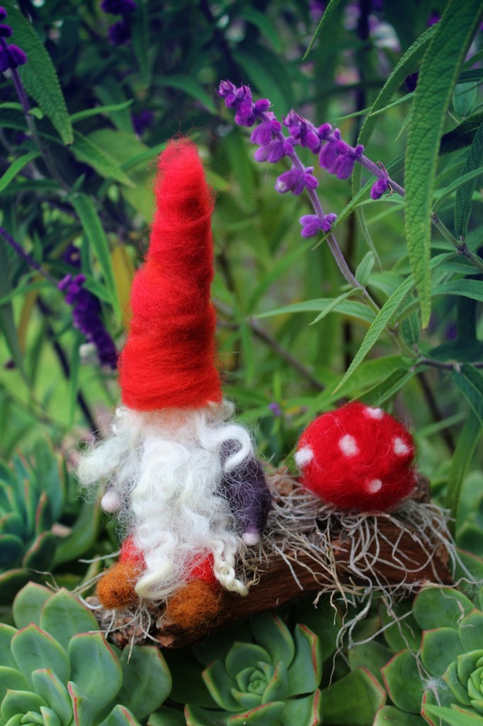 130205 Rachel Skelly's Needle-felted Gnome with Toadstool in Springtime on a cloudy day