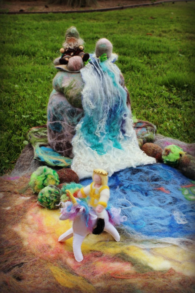 130206 Prince on unicorn, gnome on waterfall mountain