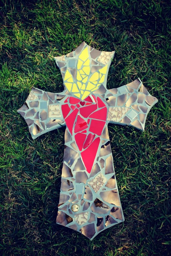 130206 Rachel Skelly's mosaic heart on fire crucifix