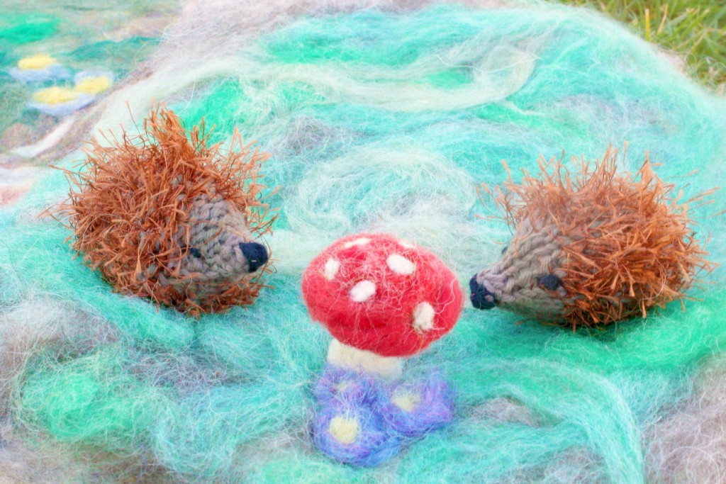 130213 Christine's knitted hedgehog and Julie's toadstool