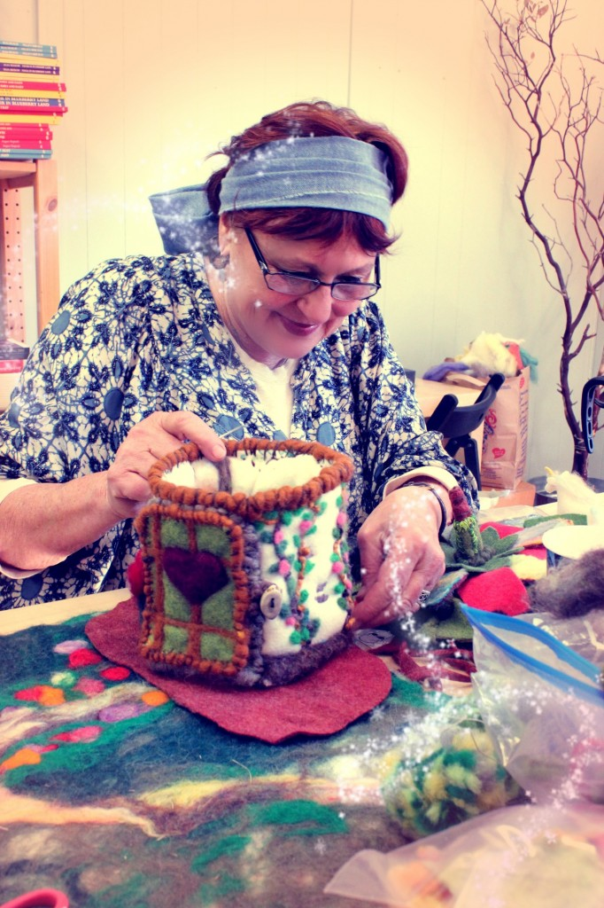 130213 Gisela adding brown felt base to felt cottage 2