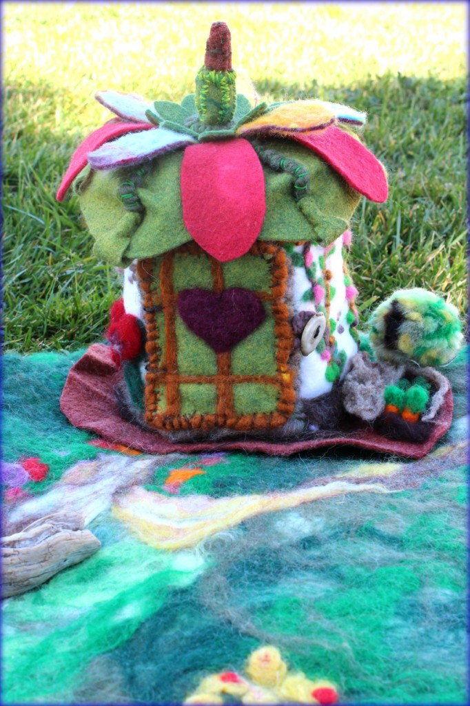 130213 Gisela's felt woodland cottage front view door closed