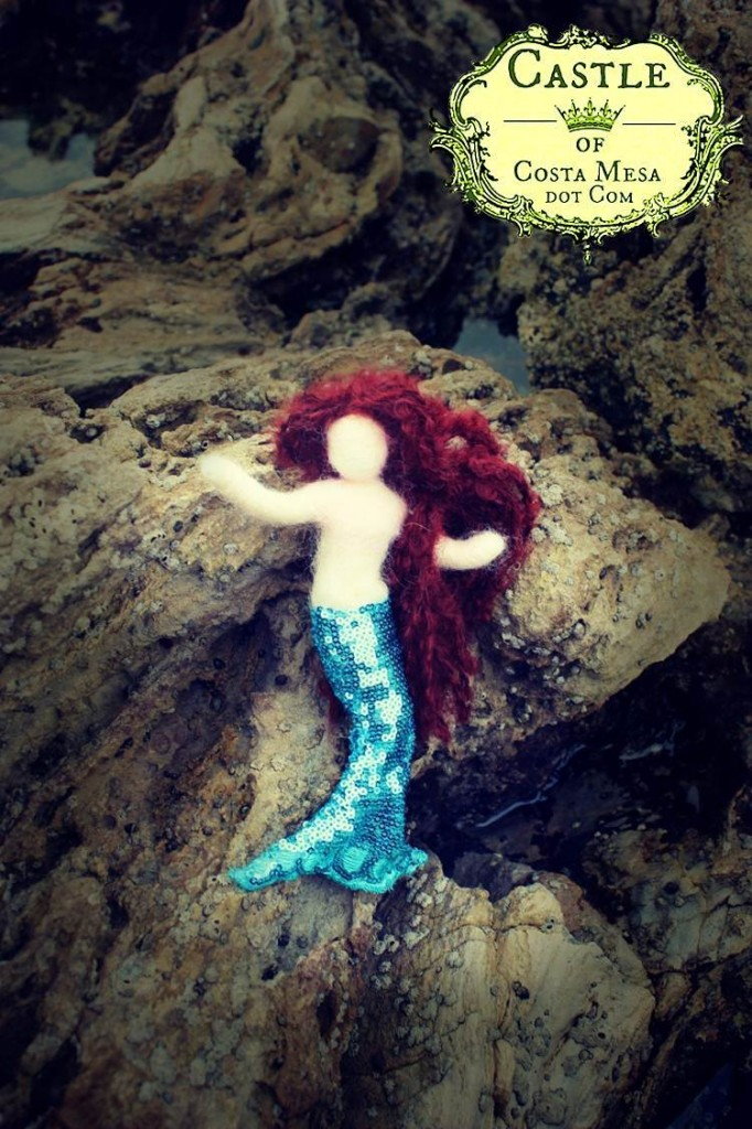130219 Needle-felted auburn-brunette faceless mermaid doll 2