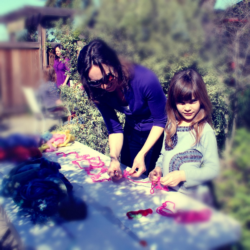 130227 Alena and Anicka making Artfelt scarf under the sun 2