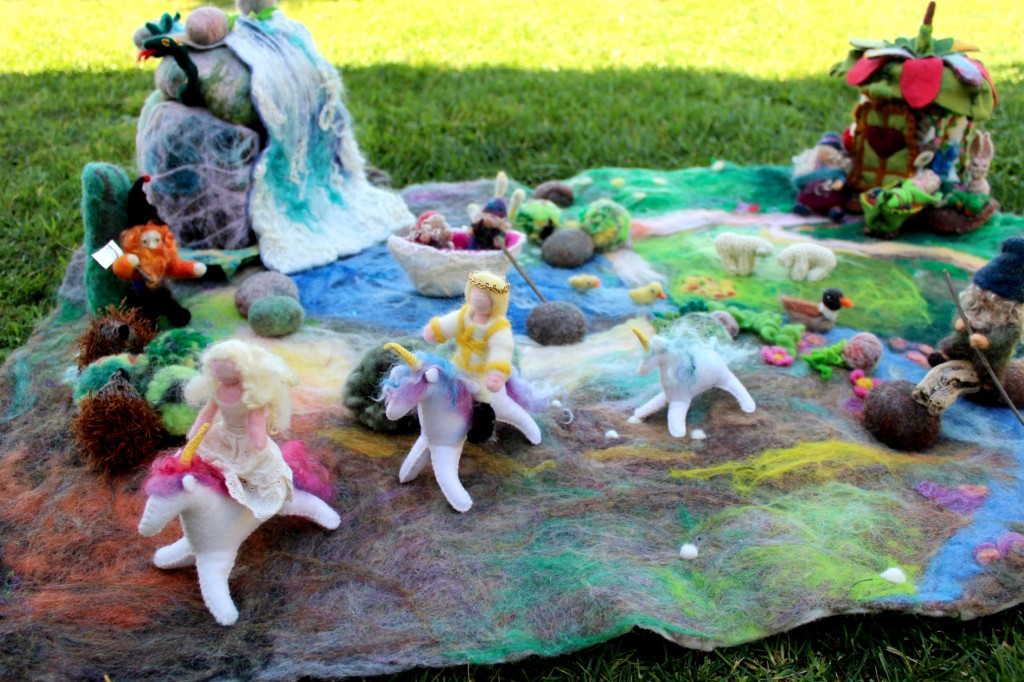 130227 Prince and Princess riding unicorns across wet-felted playscape