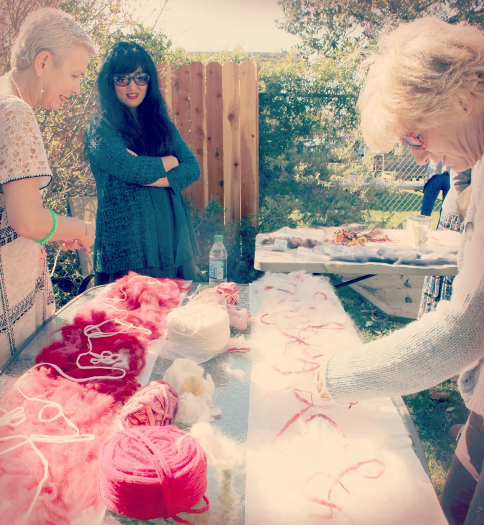 130227 Rachel, Cathrine and Ji making red and white Artfelt scarves