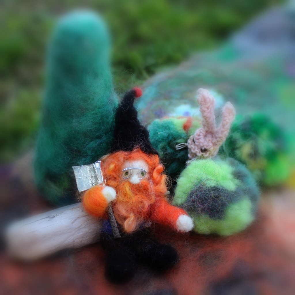 130227 The needle-felted technology gnome with axe and bunny rabbit