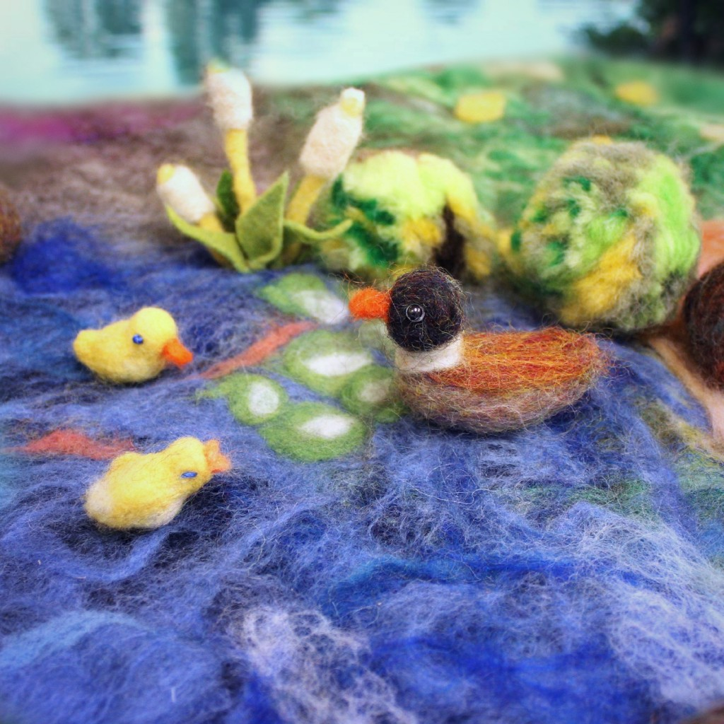 130228 square. Needle-felted miniature duck and ducklings family handmade by Jzin