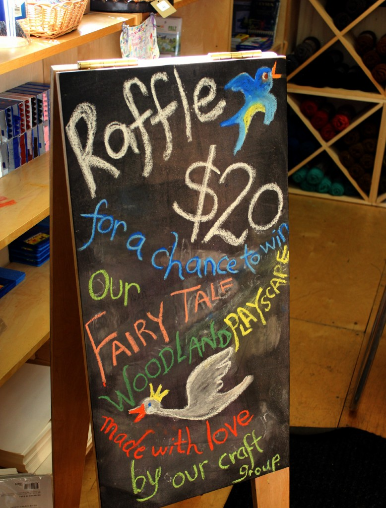 130308 Chalkboard announcing craft group raffle ticket sale