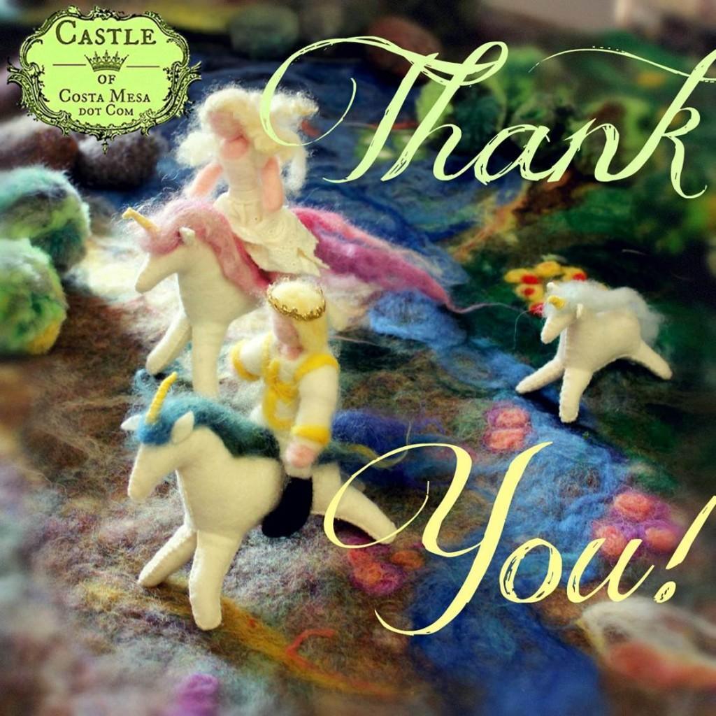 130311 Prince, princess and unicorns galloping across the woodland Thank you logo