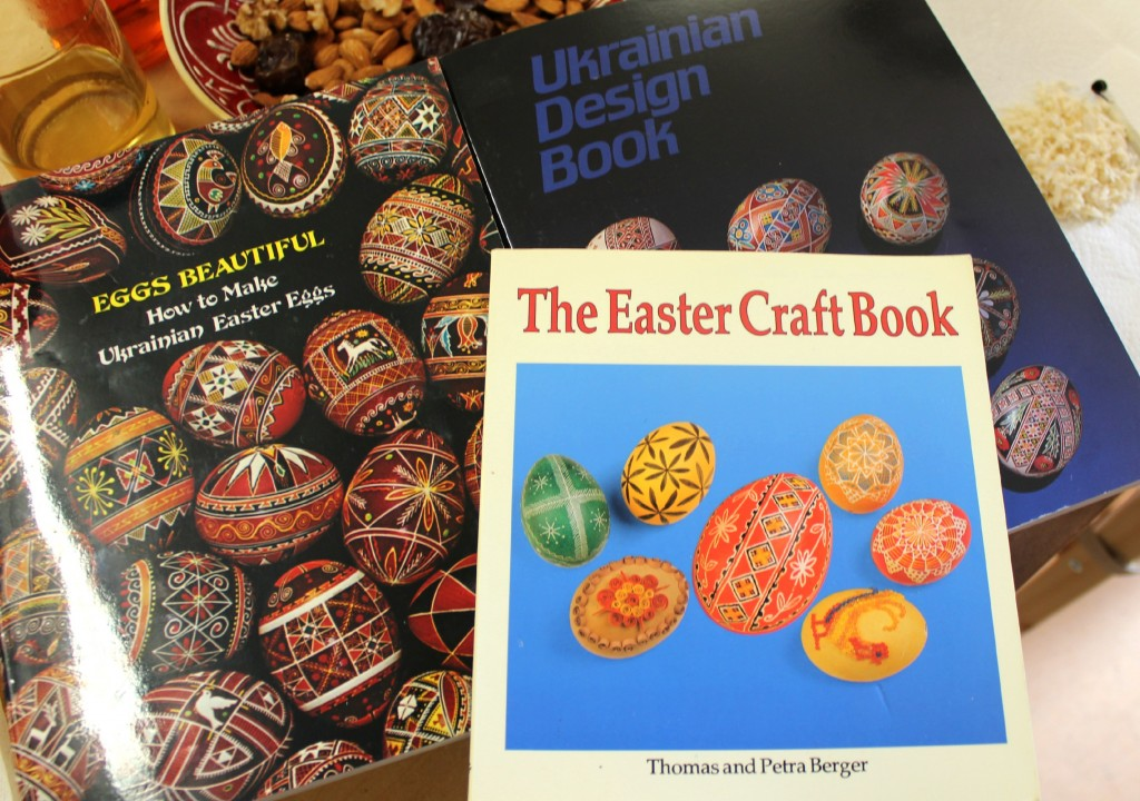 130320 Christine's books on Making Ukrainian Easter Eggs. The Easter Craft Book by Thomas and Petra Berger. Eggs Beautiful. Ukrainian Design Book.