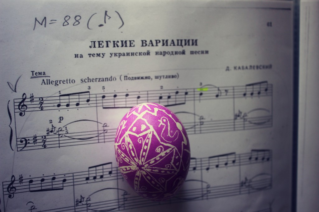 130320 Nunu's Ukrainian egg and her piano practice piece Kabalevsky's Ukrainian Variations music sheet