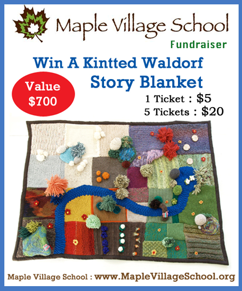 130321 Maple Village knitted storyblanket poster