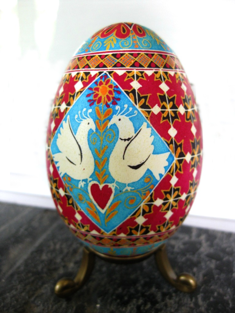 130321 love birds goose egg pysanka by Katya Trischuk on flicker