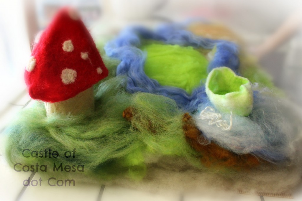 130328 Felt playscape with Toadstool house, river and little white boat with green interior