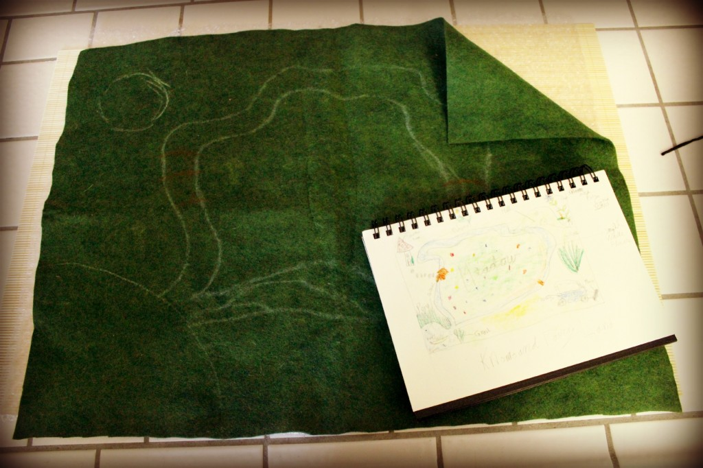 130328 green rayon snd wool blend felt and sketch book for wet-felting playscape