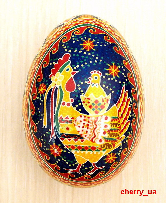Pysanky Traditional Folk Symbols of Animals for Ukrainian Easter eggs. Hen and chick fertility.