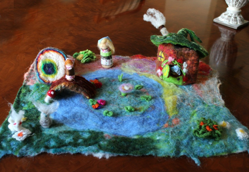 130404 Anicka's first wool felted handmade playscape with little peg dolls 2