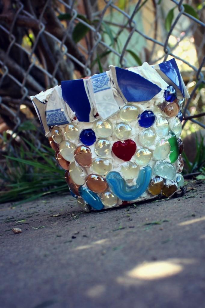 130410 Josephine's clown face mosaic flower pot