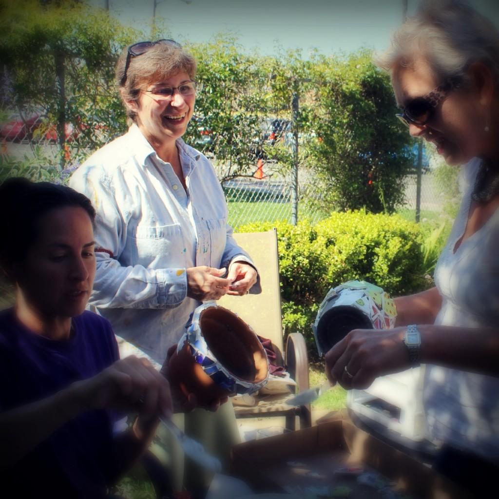 130410 Rachel, Rachel and Rebecca making mosaic flower pots